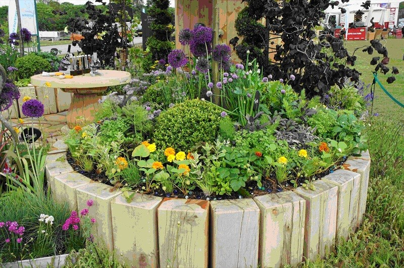 деревянная приподнятая клумба для цветов